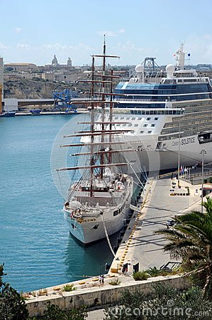 Malta cruise ships Editorial Stock Photo
