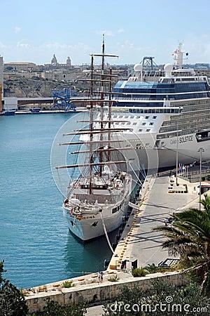Malta cruise ships Editorial Stock Photo