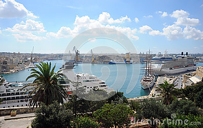 Malta, Grand Harbour and cruise ships Editorial Photography