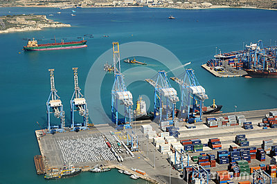 Malta industrial harbour Editorial Photo