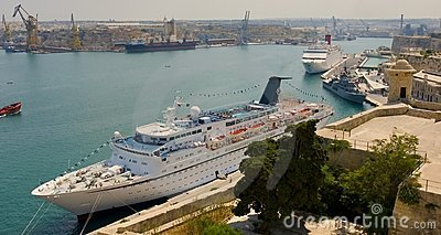 Malta Valetta harbour with cruiser
