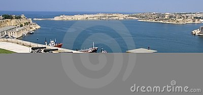 Malta Valetta harbour with guns