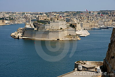 Malta Valetta harbour rampart view