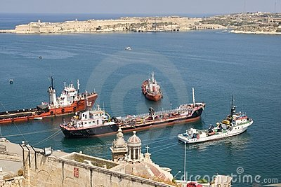 Malta Valetta harbour with ships
