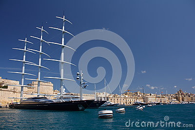 The Maltese Falcon moored in Malta