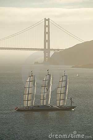 Maltese Falcon Yacht under Golden Gate Bridge Editorial Stock Image