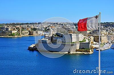 Maltese flag in Valletta
