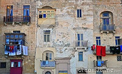 Maltese houses in Valletta