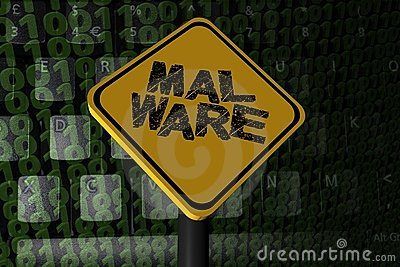Malware warning sign on binary code