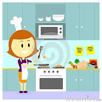 Mam que cocina en la cocina ilustraci n del vector for La cocina de dibujos pdf