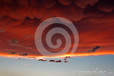 Mammatus clouds at sunset ahead of violent thunderstorm