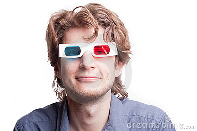 Man in a 3D stereo glasses Stock Photo