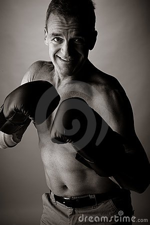 Man of 50 years old  boxing