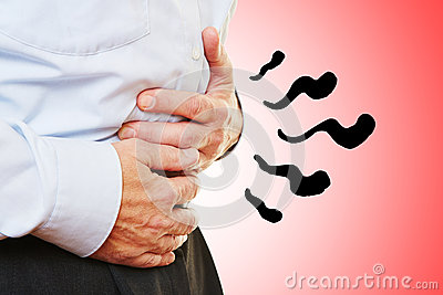 Man with abdominal pain in stomach