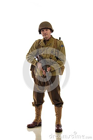 Free Man Actor In Military Uniform Of American Ranger Of World War II Period Stock Image - 113789281