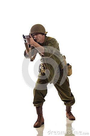 Free Man Actor In Military Uniform Of American Ranger Of World War II Period Royalty Free Stock Image - 113789476