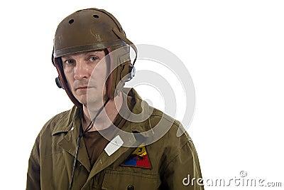 Man actor in military uniform of American tankman of World War II Stock Photo