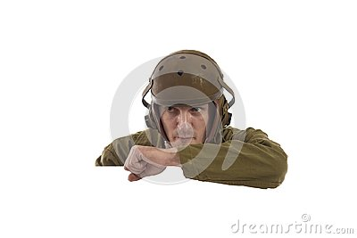 Man actor in military uniform of American tankman of World War II Stock Photo