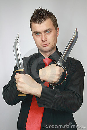 Man advertizes knifes
