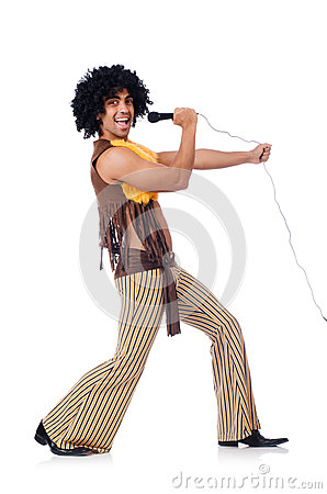 Man with afrocut and mic