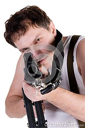 Man aiming a gun