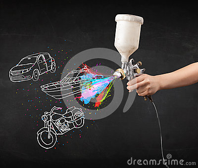 Car Paint Gun >> Man With Airbrush Spray Paint With Car, Boat And Motorcycle Draw Stock Photography - Image: 35369692
