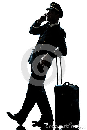 Man in airline pilot uniform silhouette