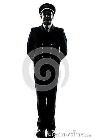 Man in airline pilot uniform silhouette
