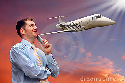 Man and airplane in air