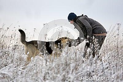 Man and Alsatian dog