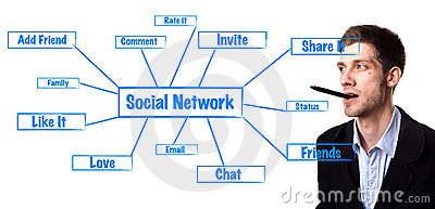 Man analysing social network schema
