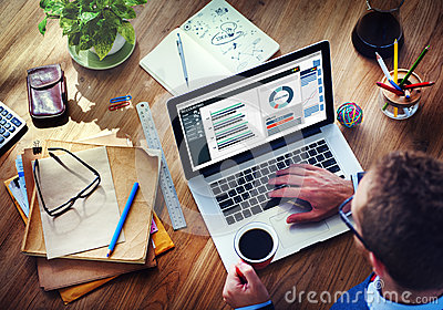 Man Analysis Business Accounting on Laptop