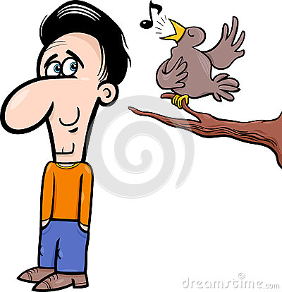 Free Man And Bird Cartoon Illustration Royalty Free Stock Images - 45360309