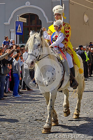 Free Man And Child On The Horse, In Traditional National Costumes At The Parade - Celebration Days Of Brasov City, Landmark In Romania Royalty Free Stock Photo - 80719165