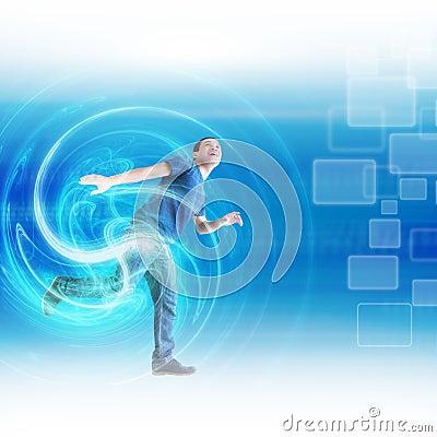 Free Man And Modern Technology Stock Image - 29808551
