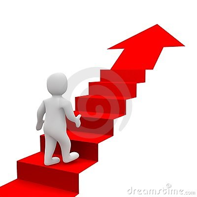 Free Man And Red Stairs Royalty Free Stock Images - 16028339