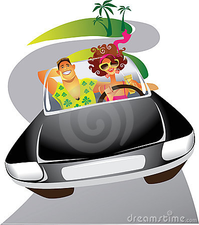 Free Man And The Woman Travelling By The Car Stock Image - 13139711