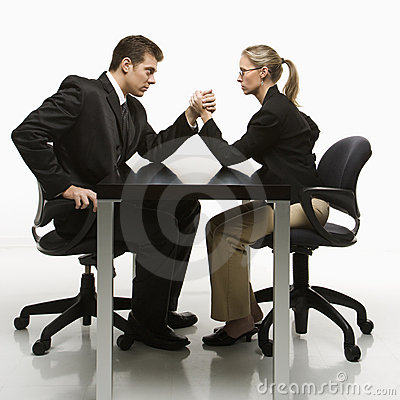 Free Man And Woman Arm Wrestling Stock Images - 2047044