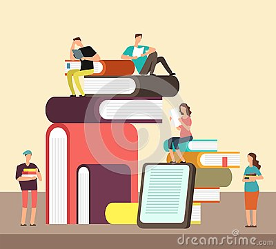 Free Man And Woman Reading Books. People And Book Creative Idea Cartoon Flat Concept. Book Festival Vector Poster Royalty Free Stock Images - 113615309
