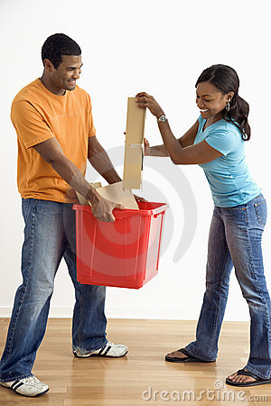 Free Man And Woman Recycling. Stock Photos - 6152403