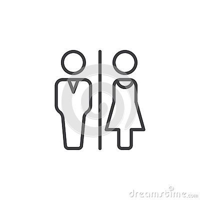 Free Man And Woman Toilet Line Icon, Outline Vector Sign, Linear Pictogram Isolated On White. Royalty Free Stock Photos - 88539468