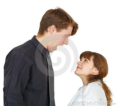 Man angrily shouted at woman