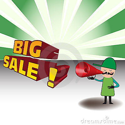 Man Announcing A Big Sale Royalty Free Stock Photos - Image: 16082958