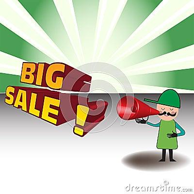 Man announcing a big sale