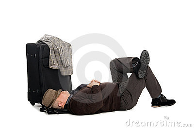 Man in anticipation of landing the plane