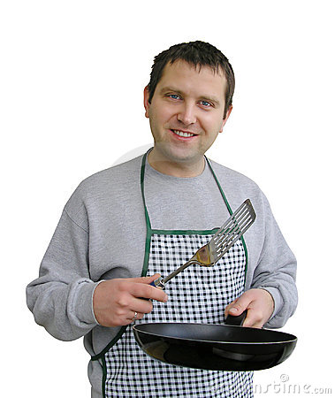 Man in apron cooking