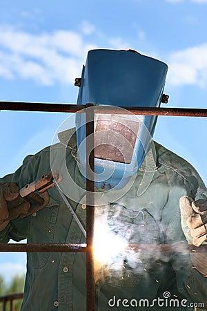 Man Arc welder