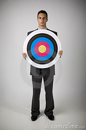 Man with archery target
