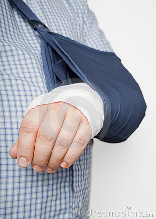 Man with arm in sling