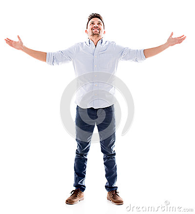 Man with arms open